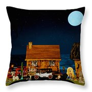 Midnight Near The Sea In Color Throw Pillow