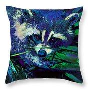 Midnight Racoon Throw Pillow