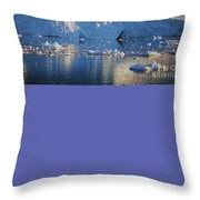 midnight sun with moon in Greenland Throw Pillow