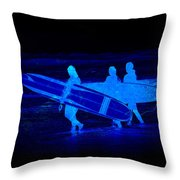 Midnight Surfers Throw Pillow