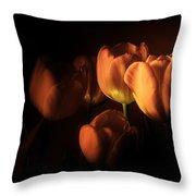 Midnight Tulips Throw Pillow