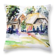Midsummer In The Mecklenburg Village Nossentin Throw Pillow