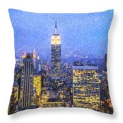 Midtown Manhattan And Empire State Building Throw Pillow