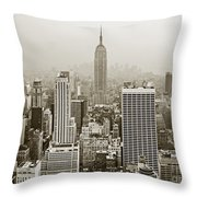 Midtown Manhattan With Empire State Building Throw Pillow