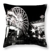 Midway Attractions In Black And White Throw Pillow