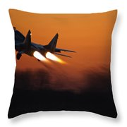 Mig-29 At Sunset Throw Pillow