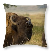 Mighty Bison Throw Pillow