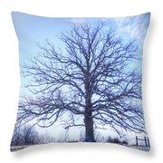 Mighty Oak In Winter Throw Pillow