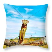 Mighty Super Mantis Throw Pillow