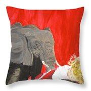 Mika And Elephant Throw Pillow