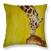 Mika And Giraffe Throw Pillow