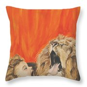 Mika And Lion Throw Pillow