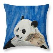 Mika And Panda Throw Pillow
