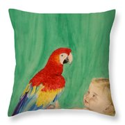 Mika And Parrot Throw Pillow