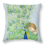 Mika And Peacock Throw Pillow