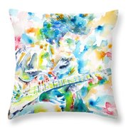 Mike Bloomfield Playing The Guitar - Watercolor Portrait Throw Pillow