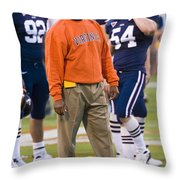 Mike London University Of Virginia Football Throw Pillow by Jason O Watson