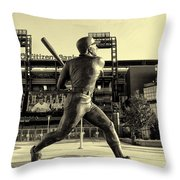 Mike Schmidt At Bat Throw Pillow by Bill Cannon