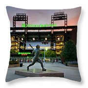 Mike Schmidt Statue At Dawn Throw Pillow by Bill Cannon