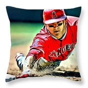 Mike Trout Painting Throw Pillow