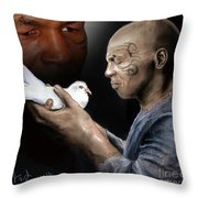 Mike Tyson And Pigeon II Throw Pillow by Jim Fitzpatrick