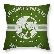 Mike Tyson - Green Throw Pillow