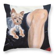 Mikedog With John's Knee Throw Pillow