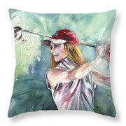 Miki Self Portrait Golfing Throw Pillow