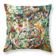 Miles Davis Watercolor Portrait.1 Throw Pillow
