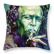Miles Davis Watercolor Portrait.2 Throw Pillow