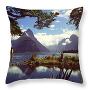 Milford Sound In New Zealand's Fiordland National Park Throw Pillow
