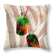 Military Art Dog Tags - Honor 2 - By Sharon Cummings Throw Pillow