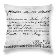 Military Due Bill, 1784 Throw Pillow