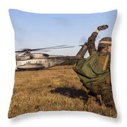 Military Policeman Signals To The Other Throw Pillow