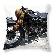 Military Style Bmw Motorcycle Throw Pillow