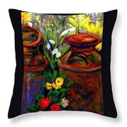 Milk Cans At Flower Show Sold Throw Pillow