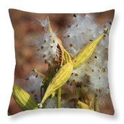 Milk Weed Spewing Its Seeds Throw Pillow