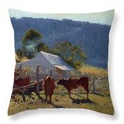Milking Time. Araluen Valley Throw Pillow