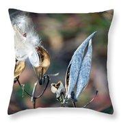 Milkweed Breaking Free Throw Pillow
