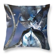 Milkweed In Blue Throw Pillow
