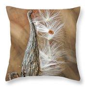 Milkweed Pod And Seeds Throw Pillow