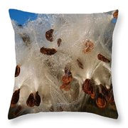 Milkweed Pod Bursting With Seeds And Dew Throw Pillow