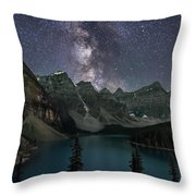 Milky Way Over Moraine Lake Throw Pillow