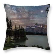 Milky Way Over Mt Rundle Throw Pillow