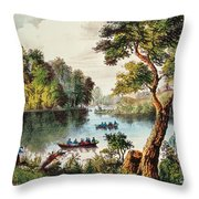 Mill Cove Lake Throw Pillow by Currier and Ives