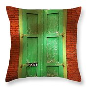 Mill Door In Dappled Sunlight Throw Pillow