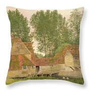 Mill On The Thames At Mapledurham, 1860 Throw Pillow