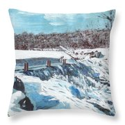 Mill Pond In Winter Throw Pillow