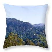 Mill Valley Ca Hills With Fog Coming In Left Panel Throw Pillow