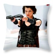 Milla Jovovich @ Resident Evil Throw Pillow